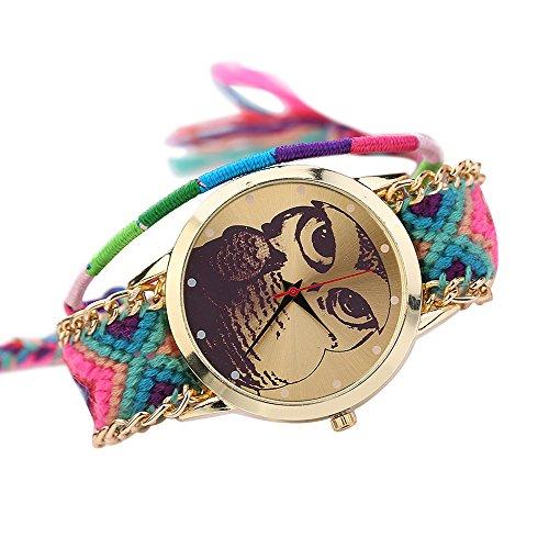 Damen Nett Eulenmuster Zifferblatt Handgefertigt geflochtenen Seil Armband Analog Quarz Armreif Armbanduhr Mode 10