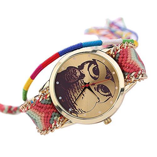 Damen Nett Eulenmuster Zifferblatt Handgefertigt geflochtenen Seil Armband Analog Quarz Armreif Armbanduhr Mode 1