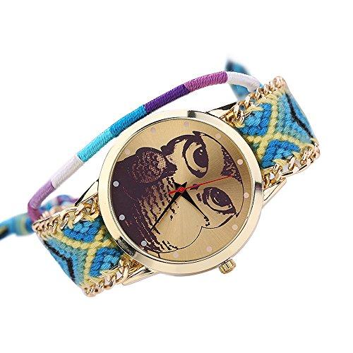 Damen Nett Eulenmuster Zifferblatt Handgefertigt geflochtenen Seil Armband Analog Quarz Armreif Armbanduhr Mode 5