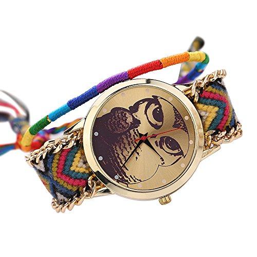 Damen Nett Eulenmuster Zifferblatt Handgefertigt geflochtenen Seil Armband Analog Quarz Armreif Armbanduhr Mode 11