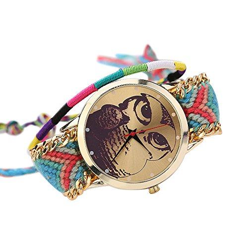 Damen Nett Eulenmuster Zifferblatt Handgefertigt geflochtenen Seil Armband Analog Quarz Armreif Armbanduhr Mode 3