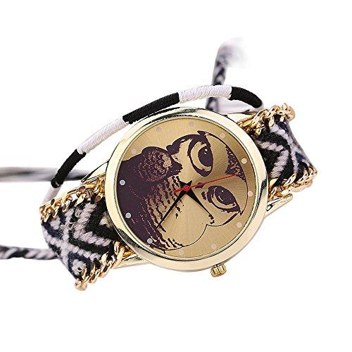 Damen Nett Eulenmuster Zifferblatt Handgefertigt geflochtenen Seil Armband Analog Quarz Armreif Armbanduhr Mode 9