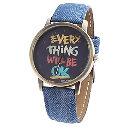 Damen Herren Everything will be ok Kartoon Kunstleder Band Quarz Kleid Armbanduhr Dunkelblau