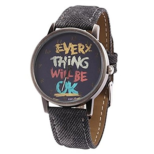 Damen Herren Everything will be ok Kartoon Kunstleder Band Quarz Kleid Armbanduhr Schwarz