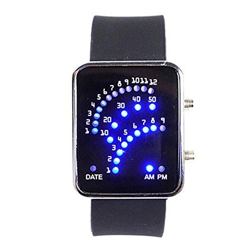 Unisex Fan Form 29 Blau LED Anzeige fuer Ditigal Datum Silikon Band Armband Uhr fuer Herren und Damen Schwarz
