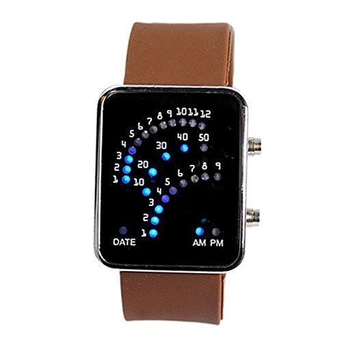 Unisex Fan Form 29 Blau LED Anzeige fuer Ditigal Datum Silikon Band Armband Uhr fuer Herren und Damen Kaffee