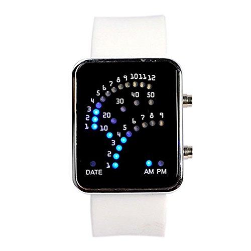 Unisex Fan Form 29 Blau LED Anzeige fuer Ditigal Datum Silikon Band Armband Uhr fuer Herren und Damen Weiss