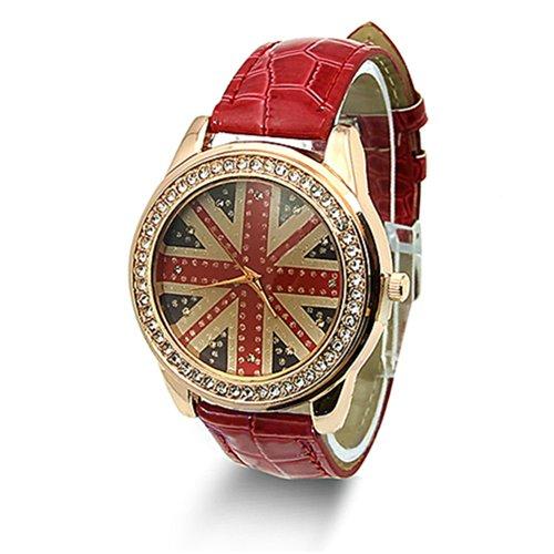 Fashion Flagge Damenuhr Strass Leder Quarz Armbanduhr Rot