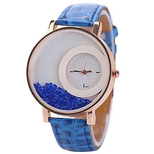 Frauen Bewegen Strass Treibsand Uhr Kunstleder Band Quarz Armbanduhr Blau