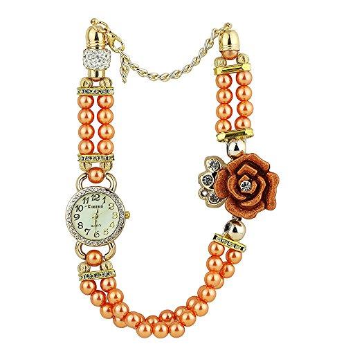 Frauen Geschmackvoll Strass Zifferblatt Blumen Perlen Band Orange