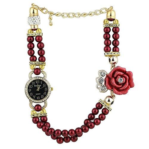 Frauen Geschmackvoll Strass Zifferblatt Blumen Perlen Band Quarz Armbanduhr Rot