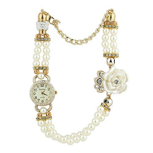 Frauen Geschmackvoll Strass Zifferblatt Blumen Perlen Band Quarz Armbanduhr Weiss