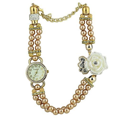 Frauen Geschmackvoll Strass Zifferblatt Blumen Perlen Band champagnerfarben
