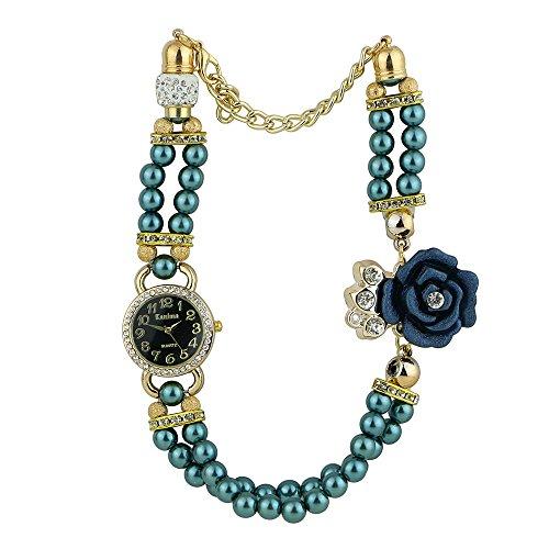 Frauen Geschmackvoll Strass Zifferblatt Blumen Perlen Band Quarz Armbanduhr Dunkelgruen