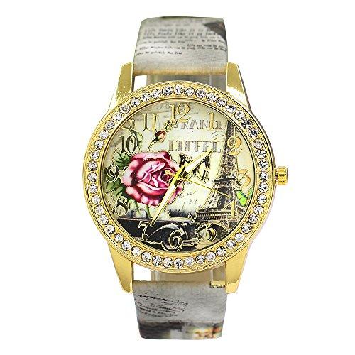 Frauen Vintage Retro Eiffelturm Blumen Uhr mit Strass besetzt um das Zifferblatt Armbanduhr Kunstleder Mode 4