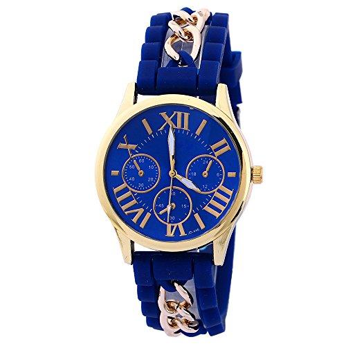 Damen Herren Gold Gehaeuse Roman Silikon Legierungsband Quarz Armbanduhr Watch Saphirblau