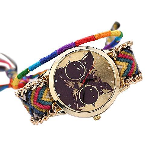 Frauen Damen Handmade Handgefertigt ethnisches Katzenmuster gestrickt gewebte Seil Band Analog Quarz Armbanduhr Mode 11