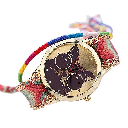 Frauen Damen Handmade Handgefertigt ethnisches Katzenmuster gestrickt gewebte Seil Band Analog Mode 1