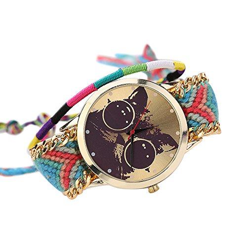 Frauen Damen Handmade Handgefertigt ethnisches Katzenmuster gestrickt gewebte Seil Band Analog Quarz Armbanduhr Mode 3