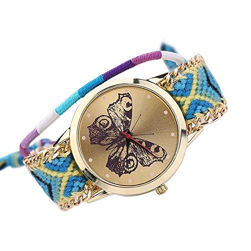 Damen Handmade Handgefertigt schoen Schmetterling Muster gestrickt gewebte Seil Band Analog Quarz Armbanduhr Mode 5