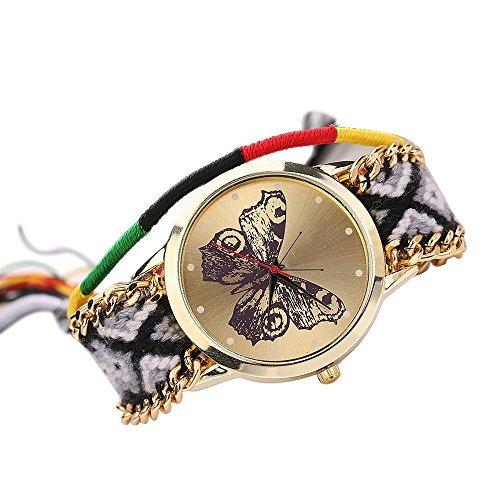 Damen Handmade Handgefertigt schoen Schmetterling Muster gestrickt gewebte Seil Band Analog Mode 4