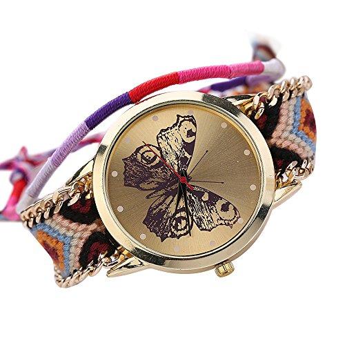 Damen Handmade Handgefertigt schoen Schmetterling Muster gestrickt gewebte Seil Band Analog Mode 2