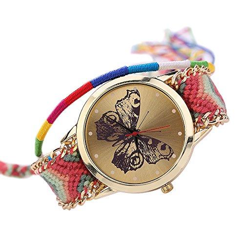 Damen Handmade Handgefertigt schoen Schmetterling Muster gestrickt gewebte Seil Band Analog Quarz Armbanduhr Mode 1