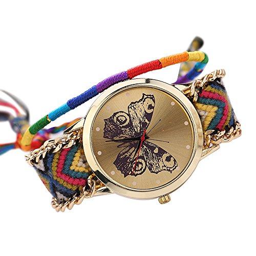 Damen Handmade Handgefertigt schoen Schmetterling Muster gestrickt gewebte Seil Band Analog Mode 11