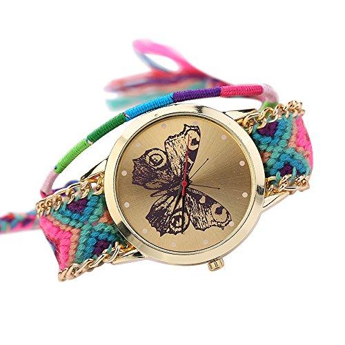Damen Handmade Handgefertigt schoen Schmetterling Muster gestrickt gewebte Seil Band Analog Quarz Armbanduhr Mode 10