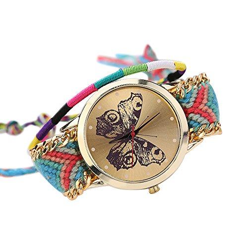 Damen Handmade Handgefertigt schoen Schmetterling Muster gestrickt gewebte Seil Band Analog Mode 3