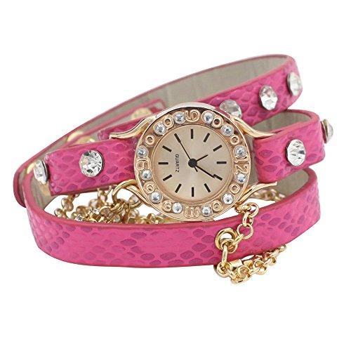 Damen Hawaiian Funkelnde Strass Lange Leder Riemen Ketten Quarz Armbanduhr Uhr Rosarot