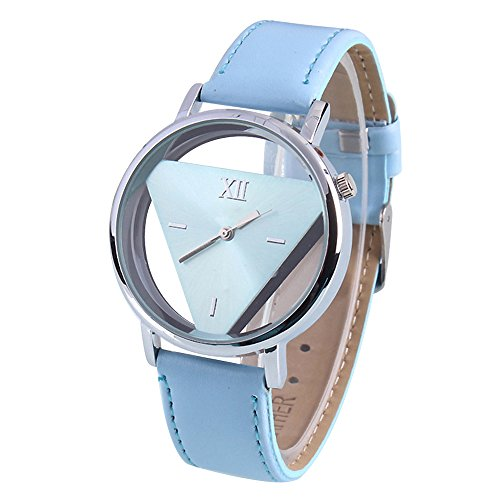Damen Herren Glas holen Dreieck Kunstlder Analog Quarz Armbanduhr Blau Band und Blau Gehaeuse