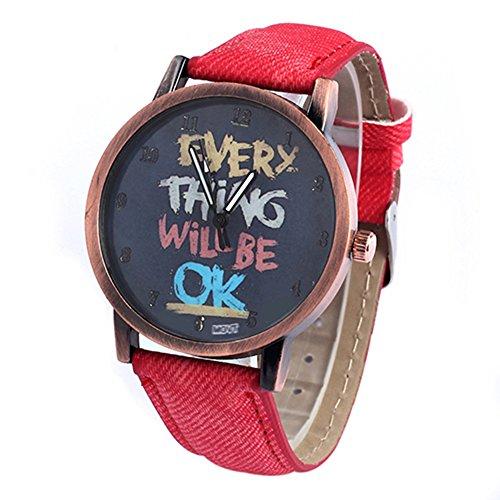 Damen Herren Everything will be ok Kartoon Kunstleder Band Quarz Kleid Armbanduhr Rot