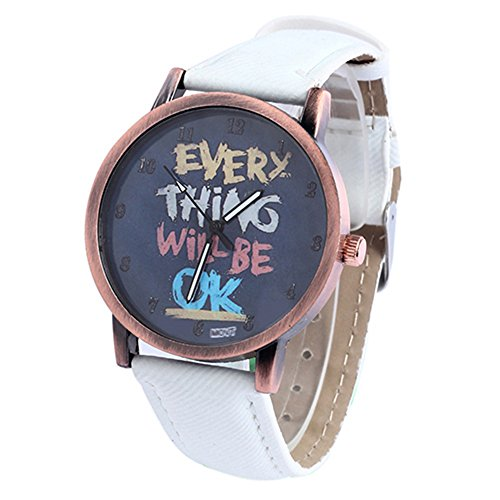 Damen Herren Everything will be ok Kartoon Kunstleder Band Quarz Kleid Armbanduhr Weiss