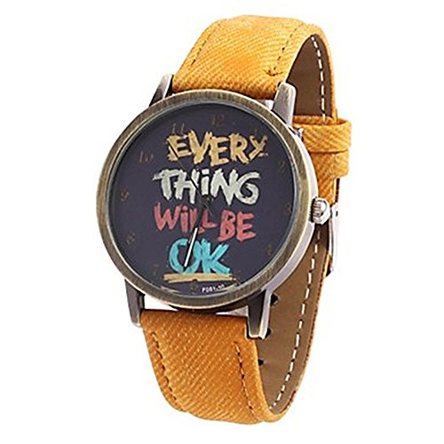 Damen Herren Everything will be ok Kartoon Kunstleder Band Quarz Kleid Armbanduhr Gelb
