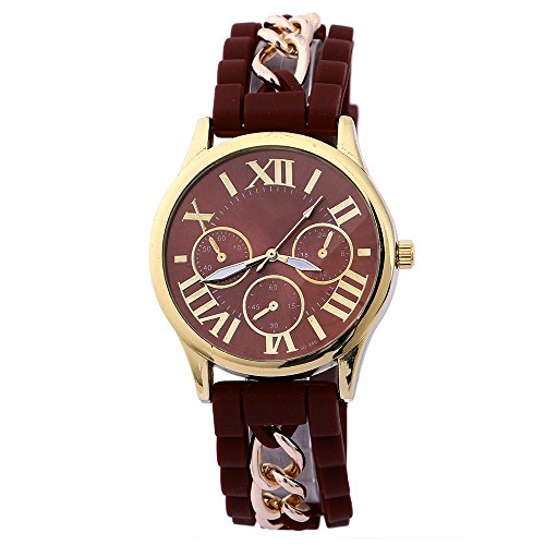 Damen Herren Gold Gehaeuse Roman Silikon Legierungsband Quarz Armbanduhr Watch Kaffee