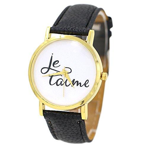 Damen und Herren Je Taime Paar Liebe Kunstleder Quarz Analoge Armbanduhr Schwarz