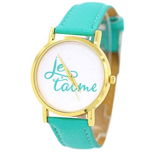 Damen und Herren Liebe Je Taime Kunstlederband Quarz Analoge Armbanduhr Minzgruen