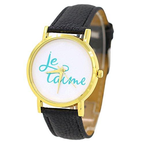 Damen und Herren Liebe Je Taime Kunstlederband Quarz Analoge Armbanduhr Schwarz
