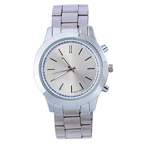 Damen Herren Gold Rund Legierungsarmband Analog Quarz Armbanduhr Silber