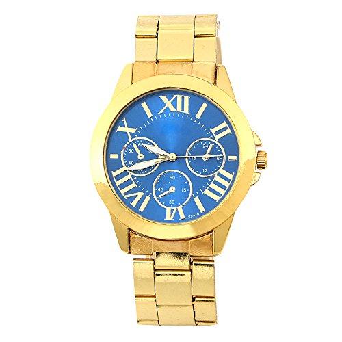 Mode Damen Herren Roman Runduhr Gold Legierung Armband Analog Quarz Kleid Armbanduhr Blau