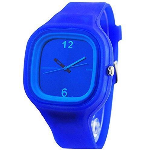 Herren Damen Gelee Silikon Fashion Quartz Armbanduhr Uhr Dunkelblau
