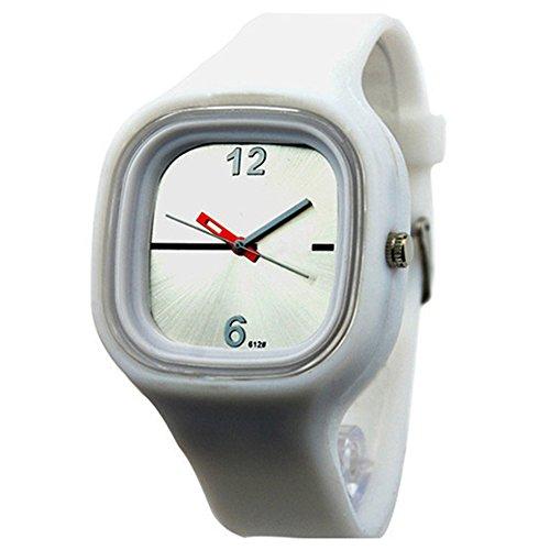 Herren Damen Gelee Silikon Fashion Quartz Armbanduhr Uhr Weiss