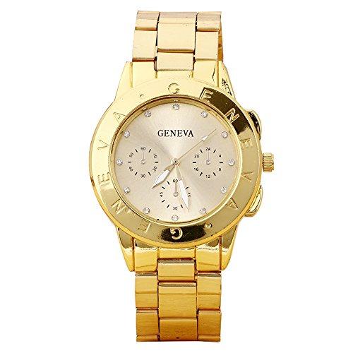 Damen und Herren Strass Design Legierungsarmband Analog Quarz Armbanduhr Gold