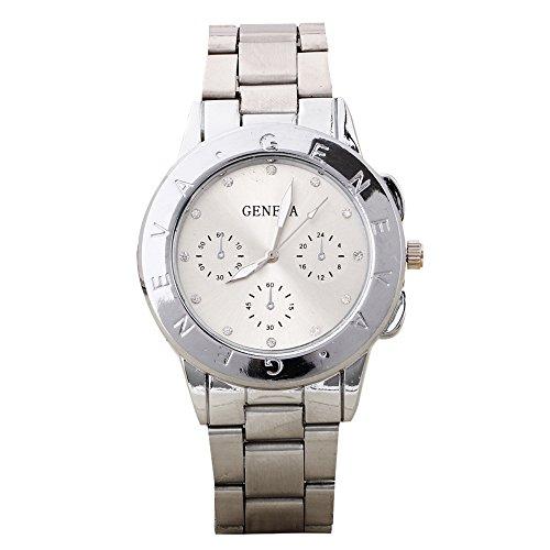 Damen und Herren Strass Design Legierungsarmband Analog Quarz Armbanduhr Silber