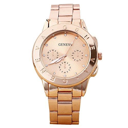 Damen und Herren Strass Design Legierungsarmband Analog Quarz Armbanduhr Rosagold