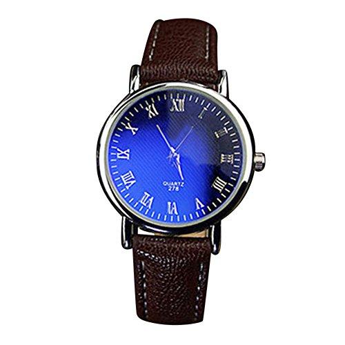 Bueros Herren Damen Blau Licht Glas Roman Wasserdicht Analog Quarz Armbanduhr Braun Band und Schwarz Zifferblatt fuer Frauen