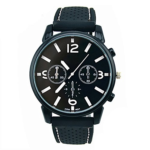 Herrenmode Edelstahl Uhr Silikon Band Armbanduhr Weiss Number