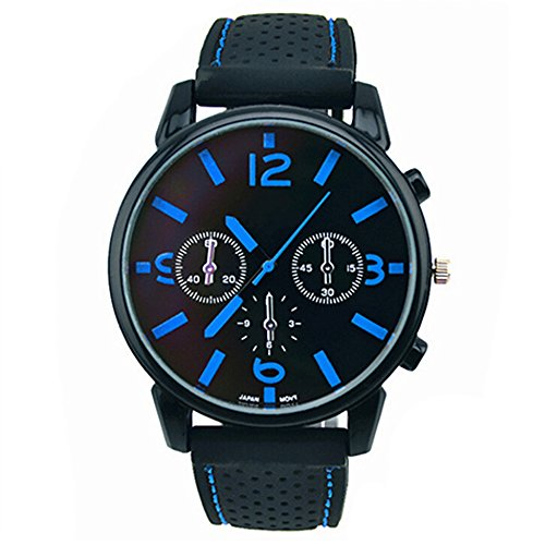 Herrenmode Edelstahl Uhr Silikon Band Armbanduhr Blau Number