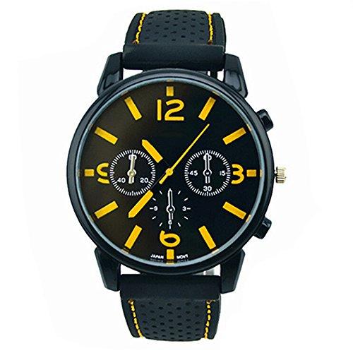 Herrenmode Edelstahl Uhr Silikon Band Armbanduhr Gelb Number